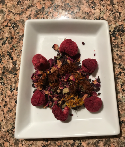 Vitamin C herbal tea blend with raspberries, hibiscus, rose petals, and calendula