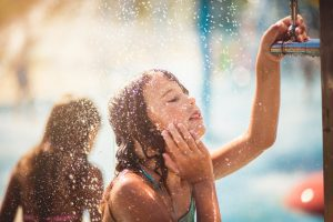 Protect your skin from chlorine by showering before swimming in chlorinated pools.
