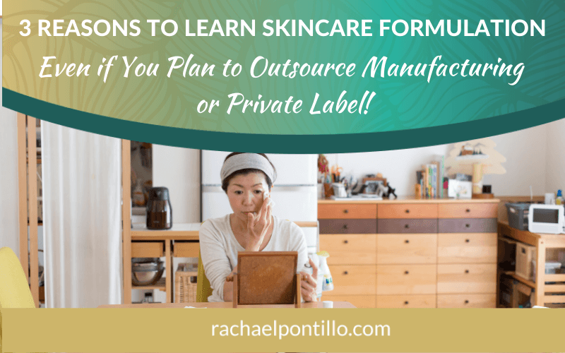 3 Reasons to Learn Skincare Formulation--woman in her kitchen learning to make skincare