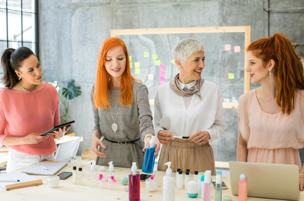 Women making skincare together