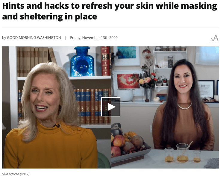 Melanie Hastings and Rachael Pontillo talking stressed out skin on ABC7's Good Morning Washington.