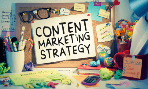 Content marketing strategy sign on messy desk