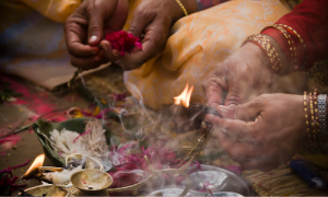 Sacred incense in ceremony