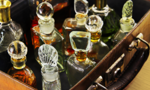 assorted vintage perfume bottles