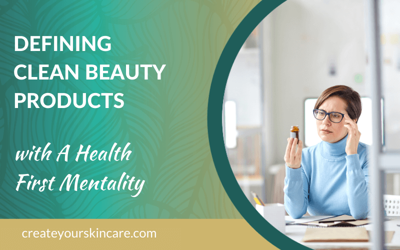 Woman studying skincare product labels